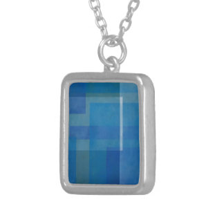 Blue Green Abstract Painting Geometric windows 01 Silver Plated Necklace