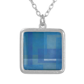 Blue Green Abstract Painting Geometric windows 02 Silver Plated Necklace