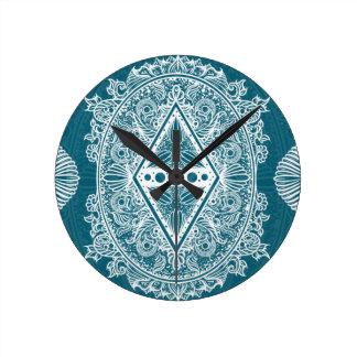 Blue Green Age of awakening, bohemian, newage Round Clock