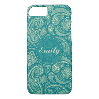 Blue-Green And Beige Creme Paisley iPhone 7 Case