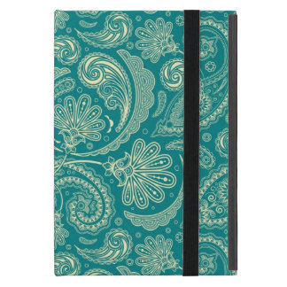 Blue-Green And Beige Creme Vintage Paisley Case For iPad Mini
