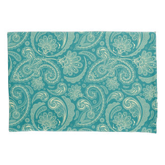 Blue-Green And Beige Creme Vintage Paisley Pillowcase