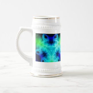 Blue Green and black kaleidoscope image Beer Stein