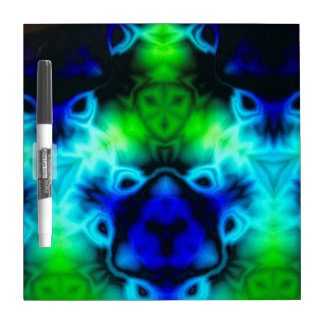 Blue Green and black kaleidoscope image Dry Erase Board