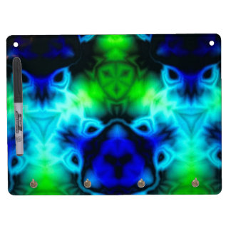 Blue Green and black kaleidoscope image Dry Erase Board With Keychain Holder
