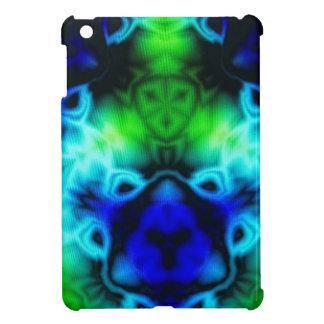Blue Green and black kaleidoscope image iPad Mini Cases