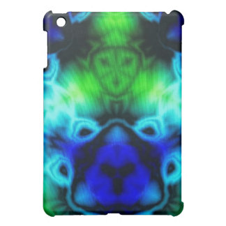 Blue Green and black kaleidoscope image iPad Mini Covers
