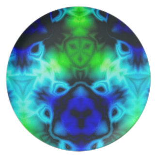 Blue Green and black kaleidoscope image Plate