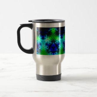 Blue Green and black kaleidoscope image Travel Mug