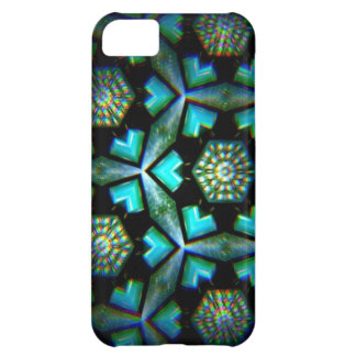 Blue green and black kalidescope image iPhone 5C cases