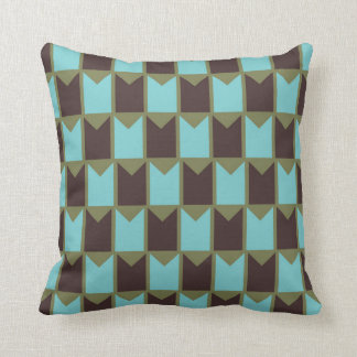 Blue Green and Brown Checked Pattern Throw Pillow