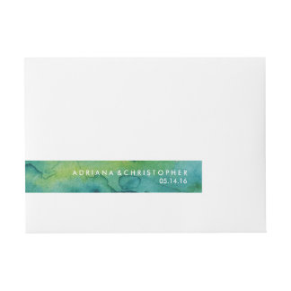 Blue Green and Gold Splatter Custom Wrap Label Wraparound Address Label