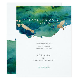 "Blue Green and Gold Splatter Wedding Save the Date 4.25"" X 5.5"" Invitation Card"