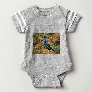 Blue Green and Orange Peacock Baby Bodysuit