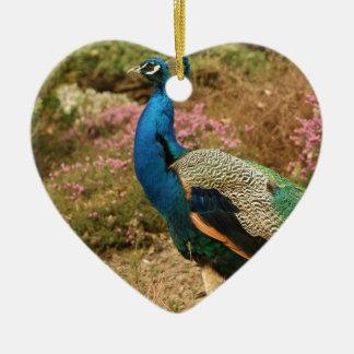 Blue Green and Orange Peacock Ceramic Ornament