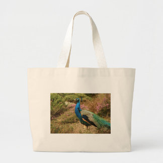Blue Green and Orange Peacock Large Tote Bag