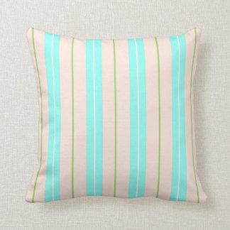 Blue Green And Peach Beach Stripes Throw Pillow