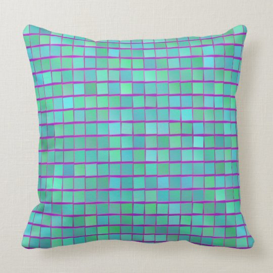 Blue Green and Purple Squares PIllow