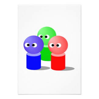Blue Green and Red Icons Personalized Invitations