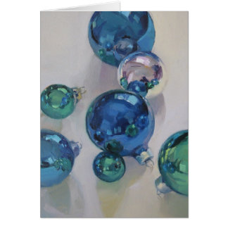 Blue, Green, and Silver Ornaments Card