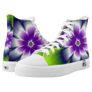 Blue Green and Violet Daisy Flower High Tops