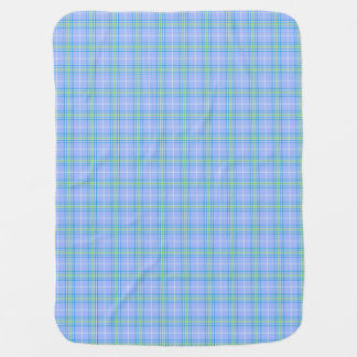 Blue, Green, and White Plaid Baby Blanket