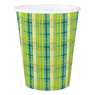 blue, green and yellow bells plaid pattern paper cup