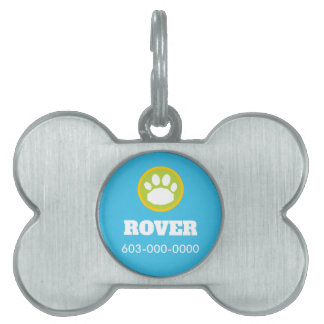 Blue, Green, and Yellow Dog Paw Print Pet Name Tag
