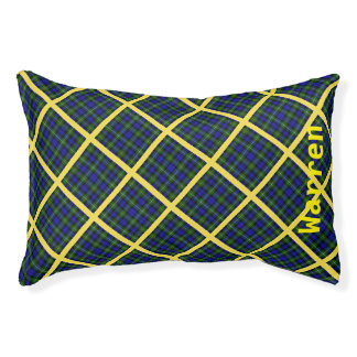 Blue, Green and Yellow Plaid Small Dog Bed