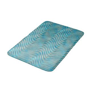 Blue Green Aqua Turquoise Faux Glass Waves Pattern Bath Mat
