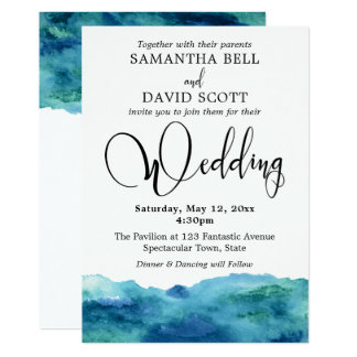 Blue Green Aqua Watercolor Modern Wedding 3b Card