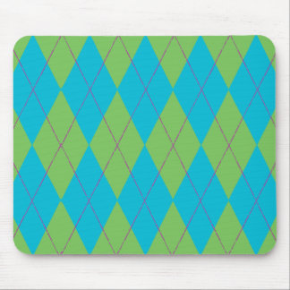 Blue & Green Argyle Mouse Pad