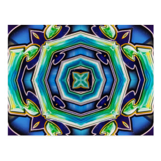 Blue Green Artistic Modern Abstract Postcard