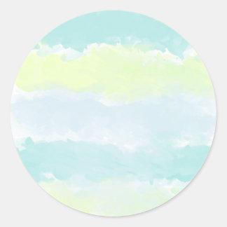 Blue Green Azur Watercolor Classic Round Sticker