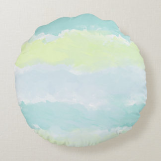Blue Green Azur Watercolor Round Pillow