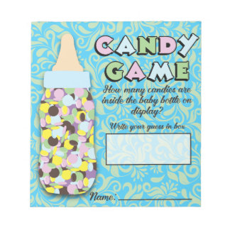 Blue & Green Baby Bottle Candy Guessing Game Notepad