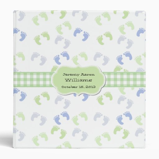 Blue & Green Baby Foot Prints Custom Baby Album Vinyl Binders