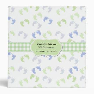 Blue & Green Baby Foot Prints Custom Baby Album Binders