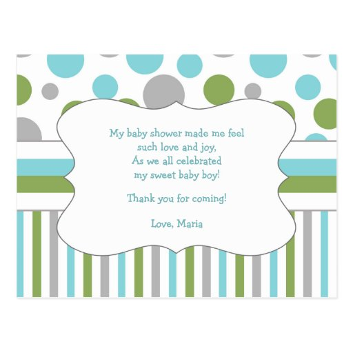 blue green baby shower thank you note w poem 3471 postcards