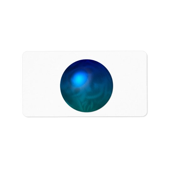 Blue green ball graphic metal reflection swirl label