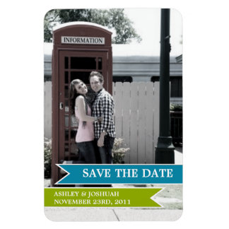 Blue & Green Banner Photo Save The Date Magnet
