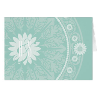 Blue Green Baroque Monogrammed Thank You Notes