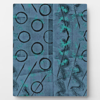 Blue Green Black Abstract Plaque