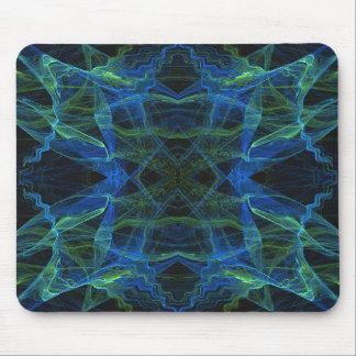 Blue, Green & Black Fractal Mousepad