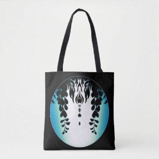 Blue Green Black Wisteria Silhouette Bag
