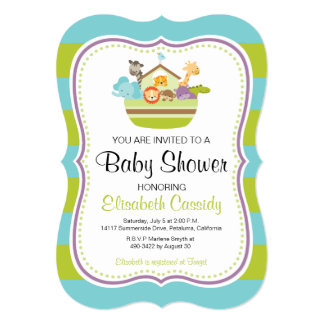Blue Green, Bracket Noah's Ark Baby Shower Invite. Card