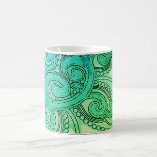 "Blue-Green ""Brain Wave"" Design Mug"