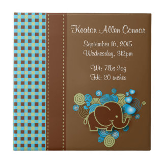 Blue, Green & Brown Plaid Baby Elephant Ceramic Tiles