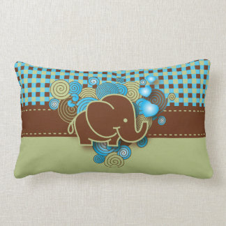 Blue, Green & Brown Plaid Baby Elephant Lumbar Pillow