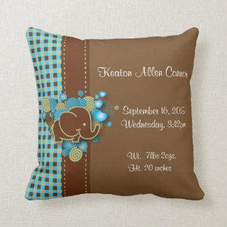 Blue, Green & Brown Plaid Baby Elephant Throw Pillow